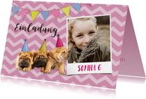 Einladung Kindergeburtstag Hundeparty mit Foto