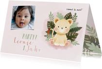 Einladung Kindergeburtstag kleine Löwin und Foto