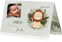 Einladung Kindergeburtstag kleiner Löwe und Foto