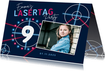 Einladung Kindergeburtstag Lasergame pink mit Foto