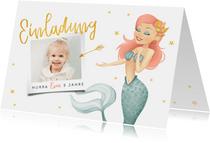 Einladung Kindergeburtstag Meerjungfrau, Sterne und Foto