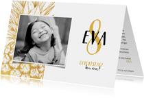Einladung Kindergeburtstag mit Foto und goldener Ananas