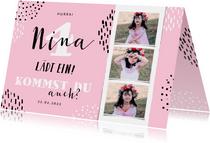 Einladung Kindergeburtstag mit Konfetti und 3 Fotos