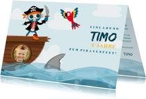 Einladung Kindergeburtstag mit Pirat und Papagei