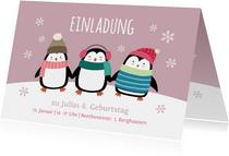 Einladung Kindergeburtstag Party-Pinguine rosa