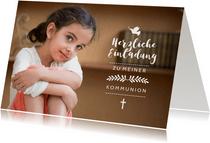 Einladung Kommunion Mädchen großes Foto und Symbole