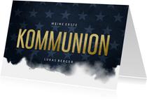 Einladung Kommunion Wasserfarbe und Sterne