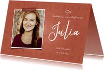 Einladung Konfirmation Foto & kleine Symbole rostrot