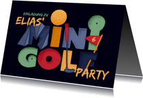 Einladung Minigolf-Party - Funky Lettering
