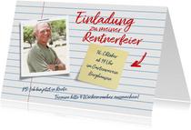 Einladung Renteneintritt als Notizzettel