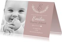 Einladung Taufe klassisch rosé eigenes Foto
