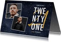 Einladung 'Twenty One' mit Fotos und goldener 21