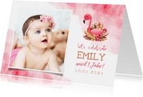 Einladung zum 1. Geburtstag Flamingo