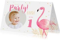 Einladung zum 1. Geburtstag rundes Foto und Flamingo