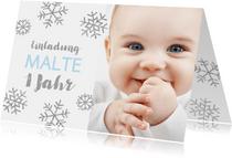 Einladung zum 1. Geburtstag Schneeflocken blau