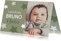 Einladung zum 1. Geburtstag Sterne olivgrün
