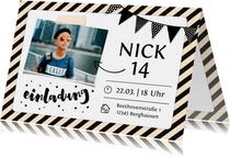 Einladung zum 14. Geburtstag mit Foto und Rahmen