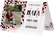 Einladung zum 14. Geburtstag rosa Leopardenmuster