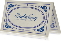 Einladung zum Geburtstag delfterblaue Ornamente