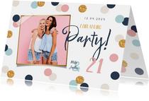 Einladung zum Geburtstag Foto, Pastellfarben und Konfetti