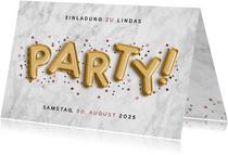 Einladung zum Geburtstag Party Ballonschrift