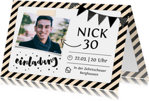 Einladung zum Geburtstag Schwarzweiß mit Foto