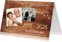 Einladung zum Hochzeitsjubiläum Holz mit Fotos