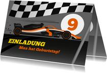 Einladung zum Kindergeburtstag Formel-1-Auto