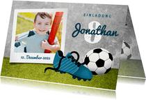 Einladung zum Kindergeburtstag Fußball & Polaroidfoto