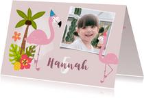 Einladung zum Kindergeburtstag mit Foto, Flamingo und Palmen