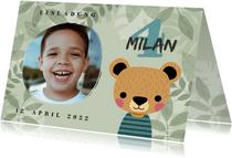 Einladung zum Kindergeburtstag mit Foto und Bär