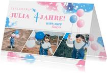 Einladung zum Kindergeburtstag mit Fotos rosa/blau