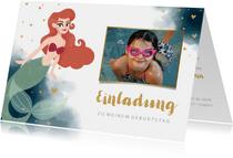 Einladung zum Kindergeburtstag mit Meerjungfrau & Foto