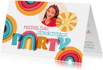 Einladung zum Kindergeburtstag mit Regenbogen