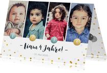 Einladung zum Kindergeburtstag mit vier Fotos