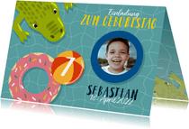 Einladung zum Kindergeburtstag mit Wasser und Krokodil