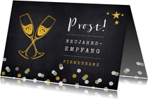 Einladung zum Neujahrsempfang Sektgläser und Sterne