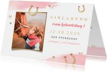 Einladung zum Pferdegeburtstag mit Foto und Hufeisen