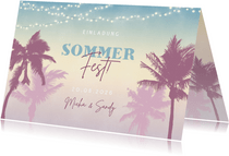 Einladung zum Sommerfest Palmen & Lichterkette
