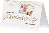 Einladung zur Abschiedsparty Foto & Goldkonfetti