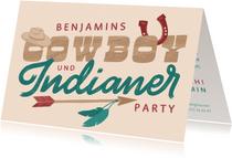 Einladung zur Cowboy- und Indianerparty - Lettering