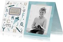 Einladung zur Einschulung ABC blau mit Foto