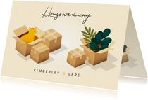 Einladung zur Einweihung mit Kartons, Katze und Blumen
