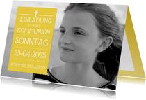 Einladung zur Erstkommunion gelb großes Foto