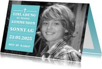 Einladung zur Erstkommunion türkis großes Foto