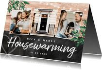 Einladung zur Housewarming Holz und Kreide mit 4 Fotos