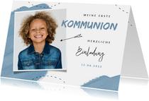 Einladung zur Kommunion blaue Farbkleckse