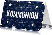 Einladung zur Kommunion Denim & Sterne Foto innen