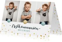 Einladung zur Kommunion Fotocollage & Konfetti blau