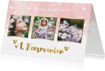 Einladung zur Kommunion Fotos, Herzen und Goldakzente
